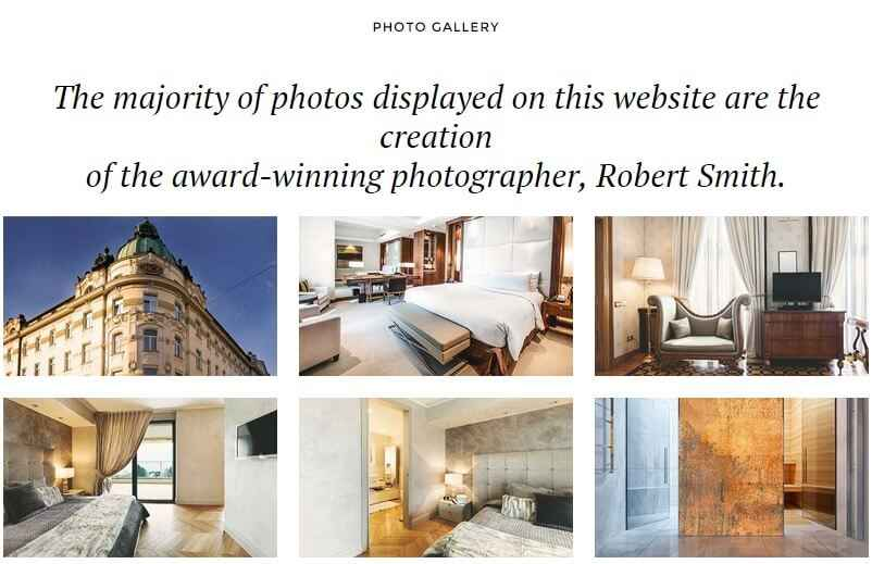 the gallery page layout in villa belluci
