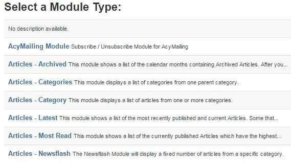 creating a new module in the joomla module manager