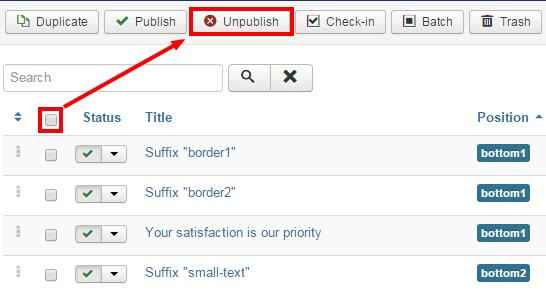 unpublishing modules on the joomla backend