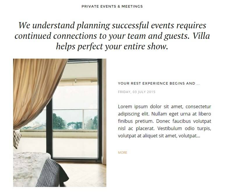 blog highlights as displayed on the hotel theme frontpage