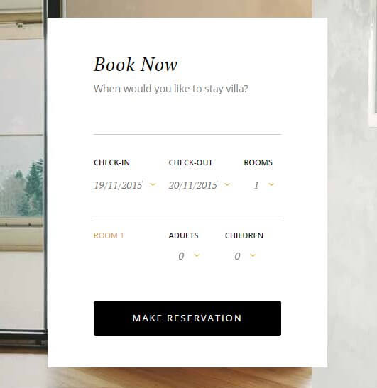 the header reservation form in the hotel wordpress theme