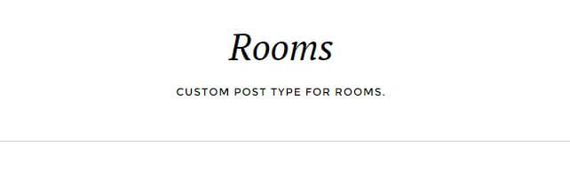 the title and subtitle of the rooms category list page