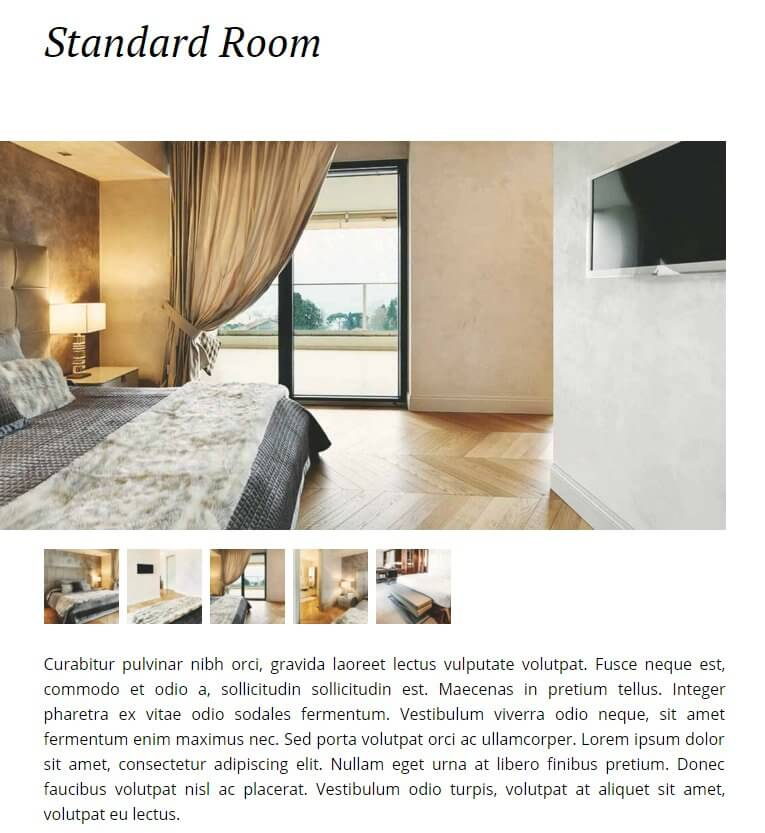special rooms pages in the hotel wordpress theme