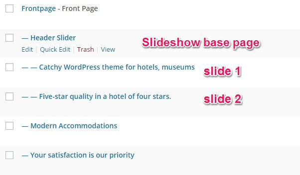 slideshow subpages in the hotel wordpress theme