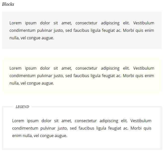 text block options in the hotel theme for wordpress