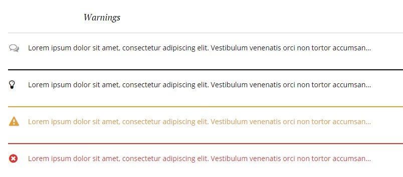 warning typography options in the wordpress hotel theme