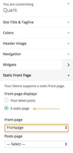 Use static frontpage