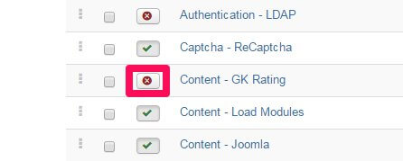 activating the review score plugin in the joomla admin area