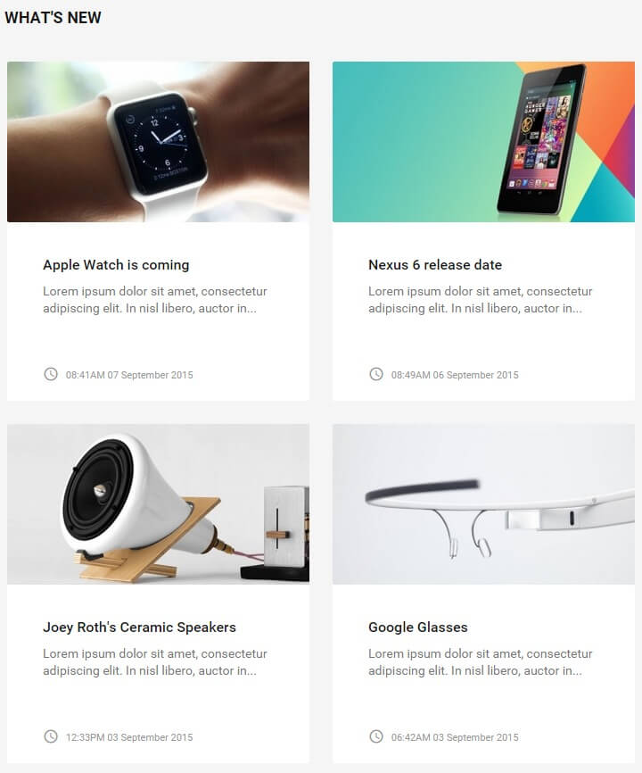 What's New article preview section in the technews template