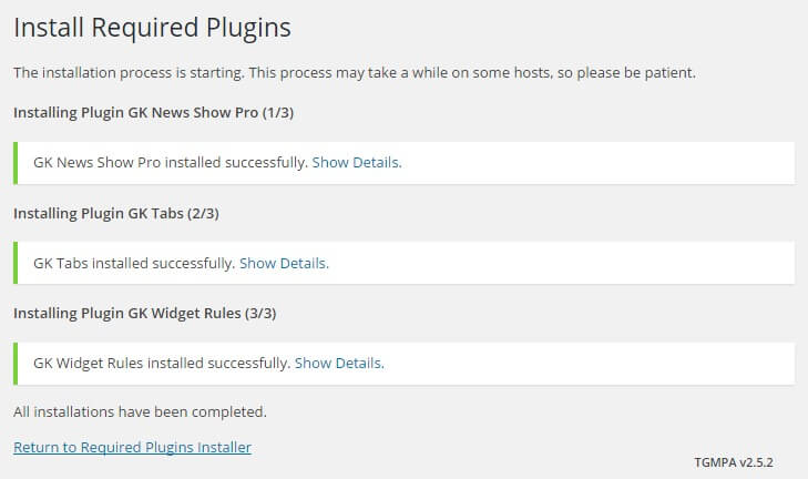 Successful bulk install of the required plugins in the technews wordpress theme