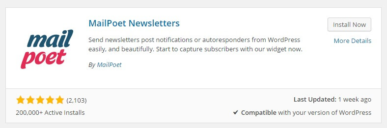 Installing the mailpoet newsletter plugin for wordpress
