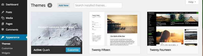 A view of the themes page on the WordPress dashboard