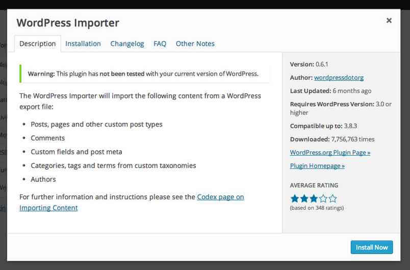 Installing the WordPress importer