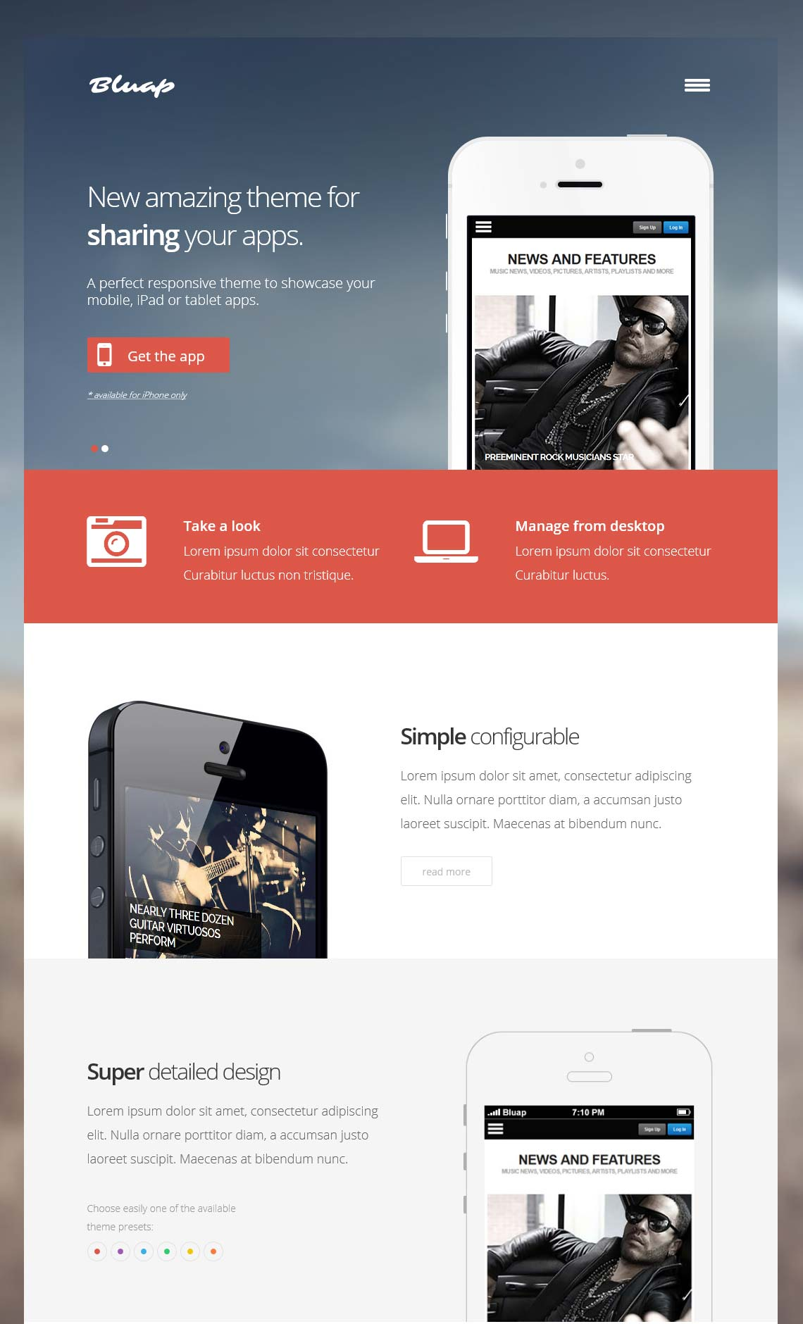 Bluap - Responsive mobile app  WordPress Theme