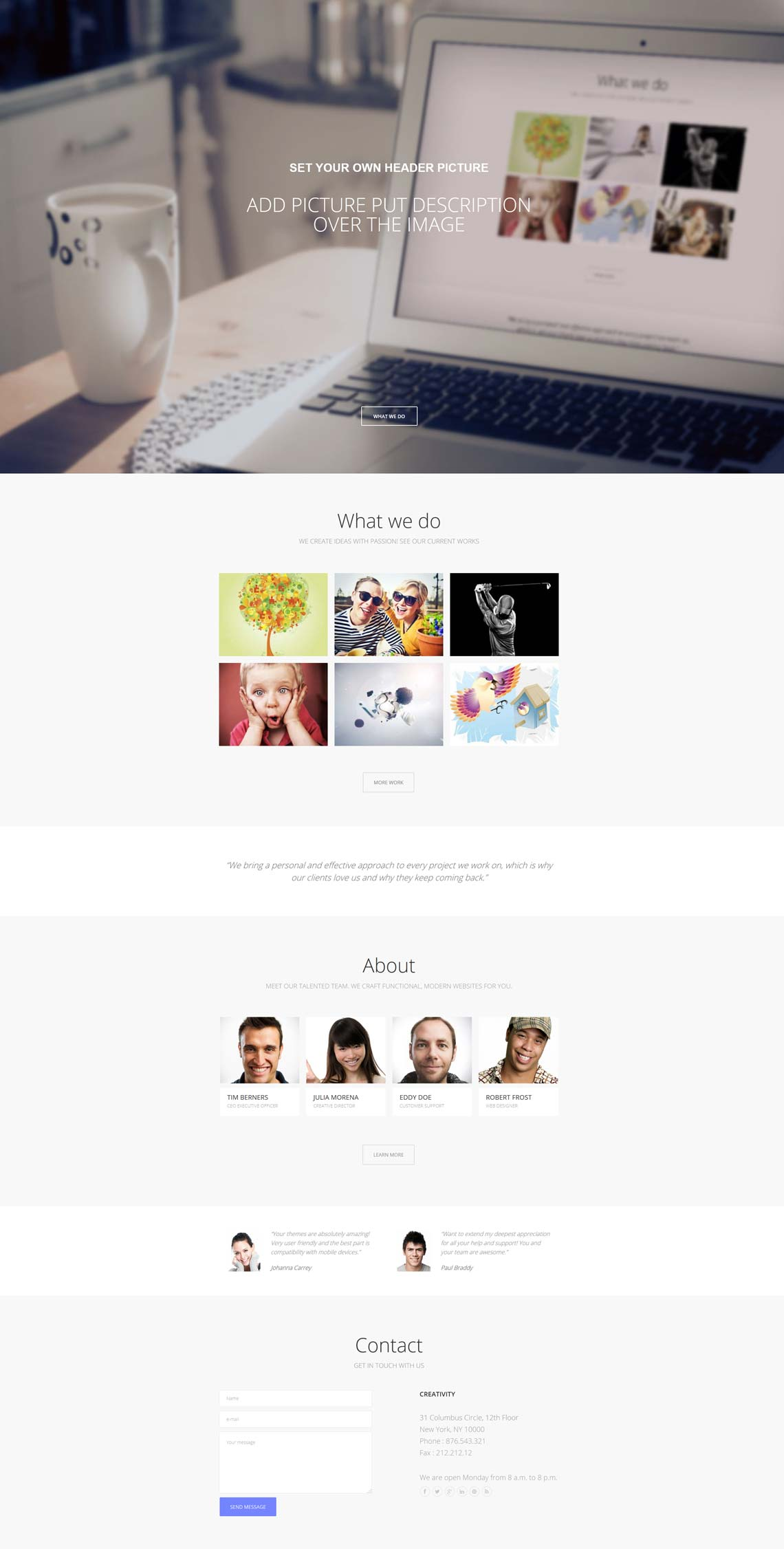 Creativity - One page photography WordPress theme