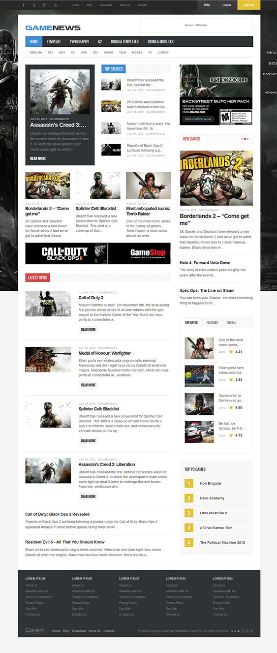 game news joomla template for gaming portal websites