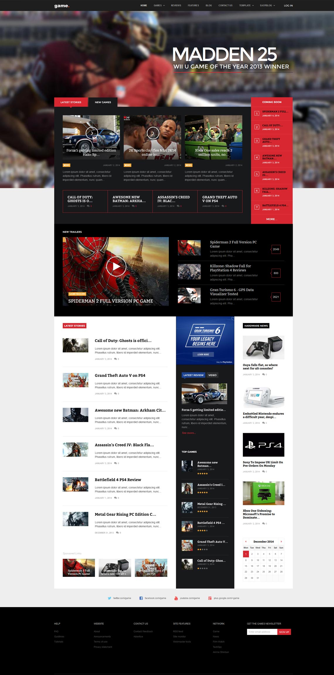 Game - The best Joomla game template