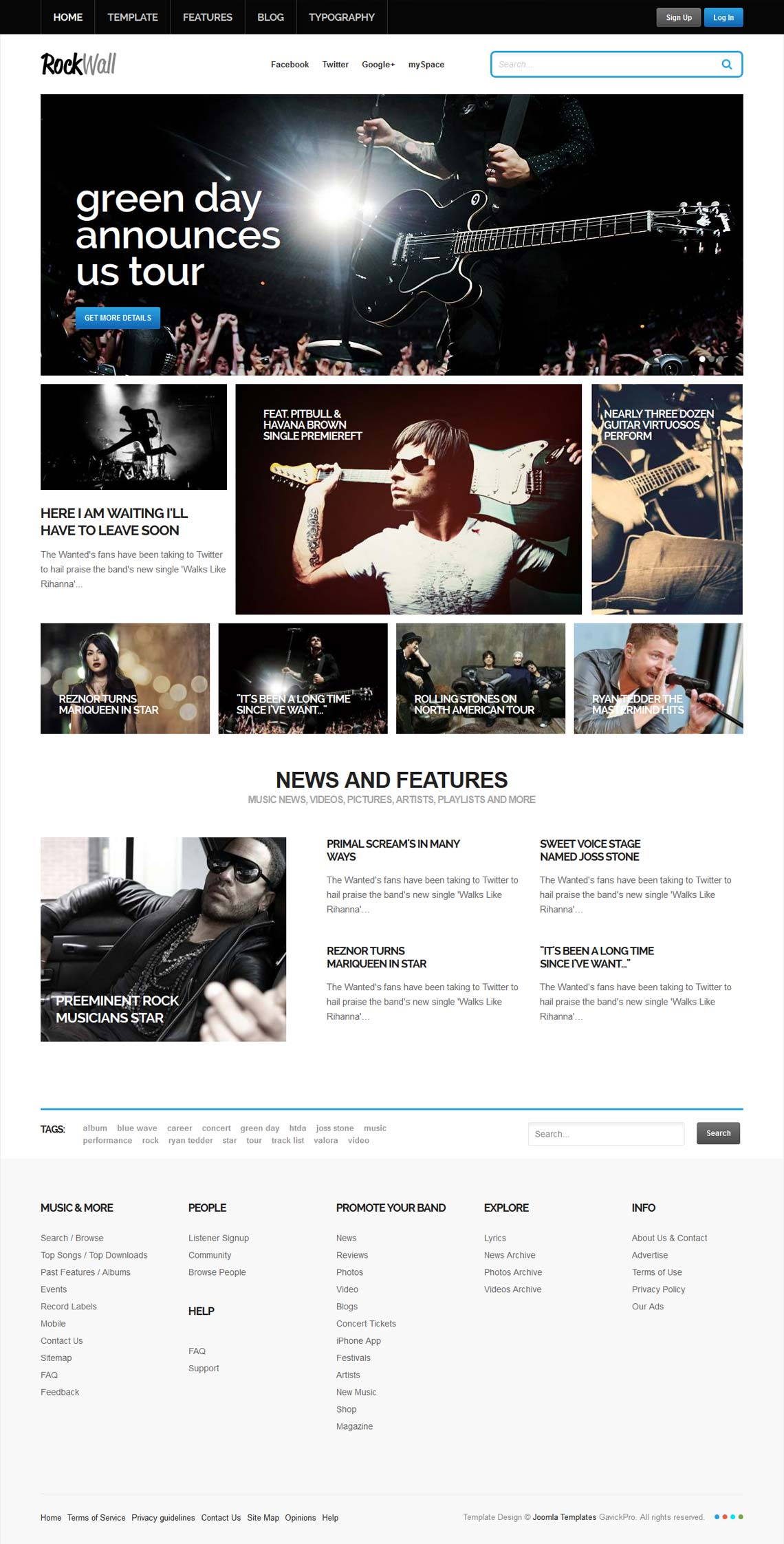 RockWall -  Joomla music template
