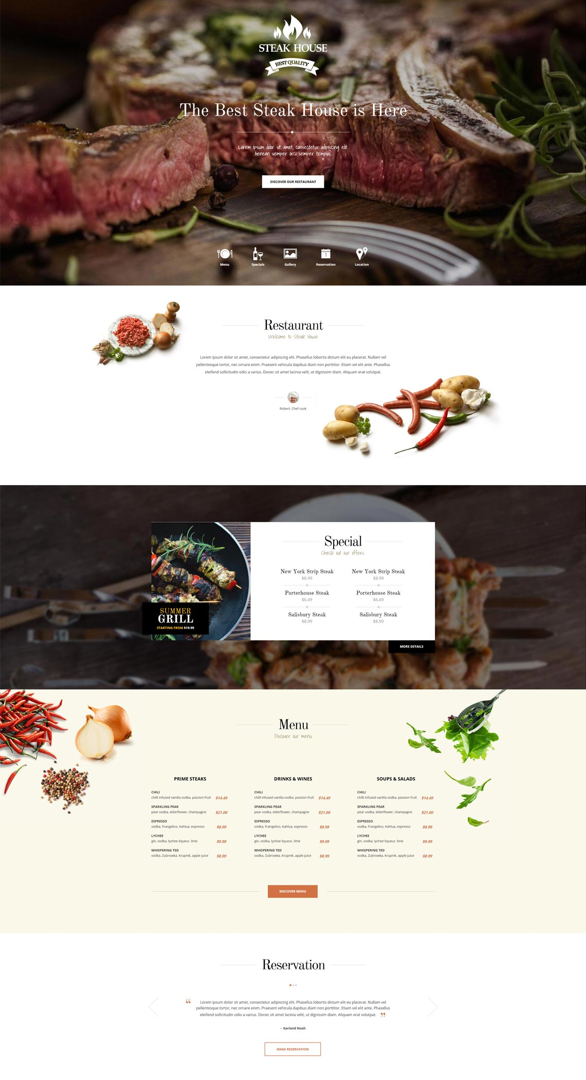 Steak House Restaurant WordPress Theme For Brasserie Bar Websites - Restaurant template wordpress