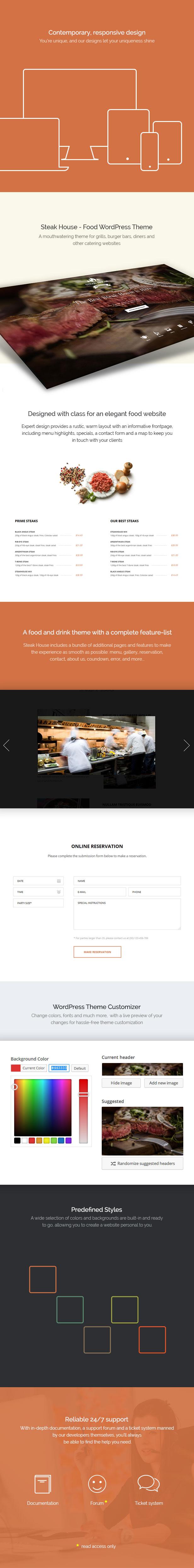 WordPress theme Steak House Food WordPress Theme (Food)